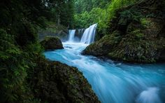 Download wallpapers waterfall, forest, 4k, USA, forest waterfall, rock, Columbia River, Washington, Spirit Falls, Little White Salmon River
