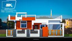 introducing Modern house exterior elevation (Ground floor) design by Er. Sameer khan House Front Wall Design, Single Floor House Design, Home Stairs Design, Village House Design, Unique House Design, Floor Design, Front Elevation Designs, House Elevation, Modern Brick House