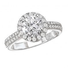 Round Halo Semi-Mount Ring $1,899 Style: 115042-100 Round Halo Ring in 14kt White Gold with Double Row of Diamonds on Shank. (D.3/8 carat total weight)This item is a SEMI-MOUNT and it comes with NO CENTER STONE as shown but it will accommodate a 6.5mm round center stone.