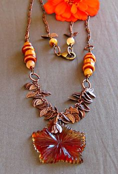 Fallen Leaves Necklace  I love the use of the leaf chain