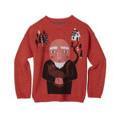 Wise Cat Man Sweater – Orange, Donna Wilson