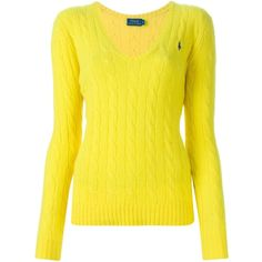 Polo Ralph Lauren Cable Knit Sweater (445 PEN) ❤ liked on Polyvore featuring tops, sweaters, yellow top, chunky cable sweater, cableknit sweater, yellow sweater and cable knit sweater