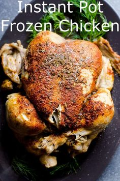 Make rotisserie style Instant Pot whole frozen chicken with 5 mins prep. It comes out super juicy! Make rotisserie style Instant Pot whole frozen chicken with 5 mins prep. It comes out super juicy! Best Whole Chicken Recipe, Frozen Chicken Recipes, Healthy Chicken Recipes, Recipe Chicken, Crockpot Frozen Chicken, Instant Pot, Pressure Cooker Chicken, Pressure Cooker Recipes, Pressure Cooking