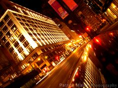 City Street Lights Night, Tilted Angle - Artistic Photography by Patrick Malon