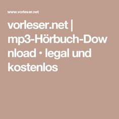 vorleser.net | mp3-Hörbuch-Download • legal und kostenlos