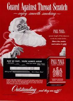 Santa dice que debes fumar para protegerse contra el temido dolor de garganta.