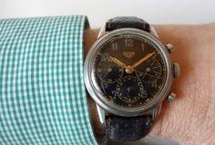 Heuer Valjoux around 1944 Old Watches, Vintage Watches, Wristwatches, Breitling, Chronograph, Omega Watch, Accessories, Old Clocks, Antique Watches