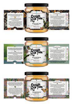 Ouiska Run Farm Honey — Jess Glebe Design - dreingra. Spices Packaging, Honey Packaging, Cookie Packaging, Food Packaging Design, Bottle Packaging, Chocolate Packaging, Jar Design, Bottle Design, Label Design