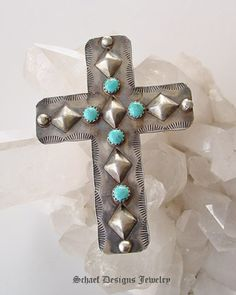 Yazzie antiqued sterling silver & turquoise repousse cross pendant | | online upscale Southwestern Native American Equine jewelry gallery boutique | Schaef Designs artisan handcrafted Jewelry | San Diego CA