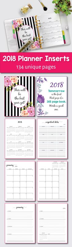 2018 Printable Planner, Yearly Planner, 2018 Monthly Planner, 2018 Weekly Planner, 2018 Agenda, Printable Planner 2018, 2018 Planner