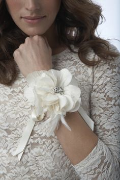 rose corsage bracelet.   Cute instead of the normal bouquet for bridesmaids.