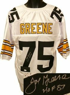Joe Greene Autographed/Hand Signed Pittsburgh Steelers White Prostyle Jersey HOF87- JSA Hologram by Hall of Fame Memorabilia. $266.95. Joe Greene known as �Mean Joe� Greene played for the Pittsburgh Steelers of the NFL. Throughout the early 1970s he was the most dominant defensive player in the National Football League. He is considered by many to be the greatest defensive lineman ever and was the cornerstone of the legendary �Steel Curtain� de...