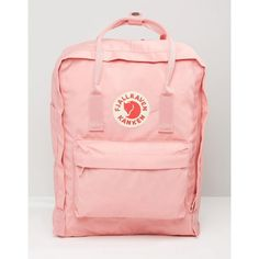 Fjallraven Classic Kanken In Pastel Pink ($87) ❤ liked on Polyvore featuring bags, pink, day pack backpack, knapsack bag, pink rucksack, fjallraven bag and fjallraven backpack