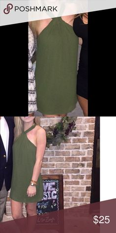 Olive Green Dress. Super cute. Only worn once for an hour. Comfortable and perfect condition. XXS/00. I am 5'0 and wore 4 inch heels. I weigh about 100 pounds. I hope this can help with sizing decisions. Please ask any questions. Dresses Mini