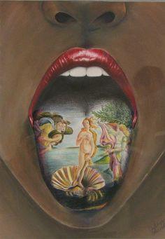 Art Nature Tongue Tattoo Design for Women Image