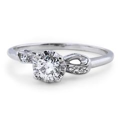 White Gold The Elaine Ring The Elaine Ring - a romantic bow is delicately tied beneath the old mine cut diamond Dream Engagement Rings, Wedding Engagement, Wedding Rings, Estate Rings, Brilliant Earth, Ring Verlobung, White Gold Rings, Vintage Rings, Diamond Cuts