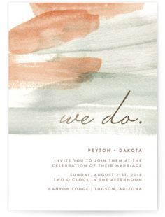 Pretty brushstroke invitations by Minted: http://www.stylemepretty.com/2016/04/28/minteds-favorite-invitation-trends-of-2016-a-giveaway/ #sponsored