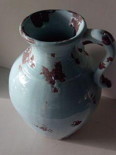 Aqua rustic jug vase charming and unusual by InteriorCosmos1