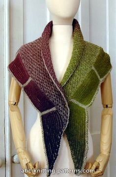 ABC Knitting Patterns - La Riviera Shawl with Brioche Border - free pattern