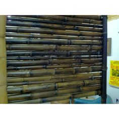 Making a bamboo fence panel inside shop-colors are cool