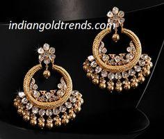 Latest Indian Gold and Diamond Jewellery Designs: Beautiful Antique Gold Diamond Chandbalis