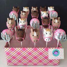 Little Miss Cake Pops ( Horse Theme Birthday Party, Horse Party, Cowboy Birthday, Farm Birthday, 6th Birthday Parties, Horse Birthday Cakes, Third Birthday, Birthday Ideas, Horse Cake Pops