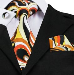 Black Yellow Orange Mens Ties Handkerchief Cufflinks Fashion Print Neck Tie Set on Sale Gravatas Silk Ties for Men Suits Paisley Tie, Paisley Color, Novelty Ties, Cufflink Set, Mens Silk Ties, Tuxedo For Men, Wedding Ties, Ties, Paisajes