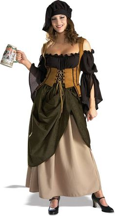 Our Womens Deluxe Tavern Wench Costume is perfect for any medieval themed parties, renaissance fairs and Halloween. This costume includes the chemise with two layered skirt and a lace up bodice. Costume Renaissance, Medieval Costume, Renaissance Clothing, Renaissance Gypsy, Adult Costumes, Costumes For Women, Cosplay Costumes, Halloween Costumes, Spirit Halloween
