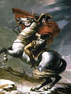 França - Napoleão Bonaparte transpõe o Monte Branco em maio de 1800 - óleo sobre tela de Jacques-Louis David