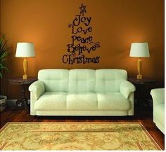 Christmas Tree Words (Joy, Love, Peace, Believe, Christmas) wall saying vinyl lettering home decor decal stickers quotes - - Christmas Tree Words x p