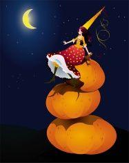 halloween pumpkin fairy vector art illustration