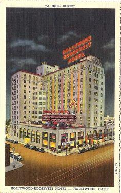 Hollywood Roosevelt Hotel on Hollywood Boulevard...vintage Los Angeles postcard