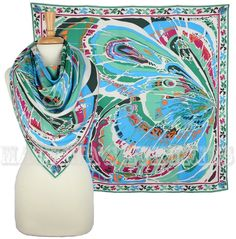 $375 EMILIO PUCCI SILK SCARF MULTI-COLOR BUTTERFLY WING PRINT TURQUOISE 34x34 #EmilioPucci #Scarf