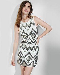 southwestern sequin embellished sheath dress