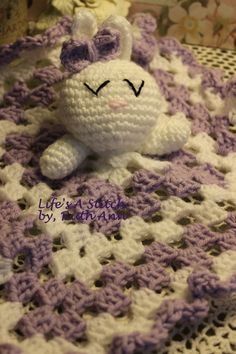 Purple and White Bunny Lovey Blankie.