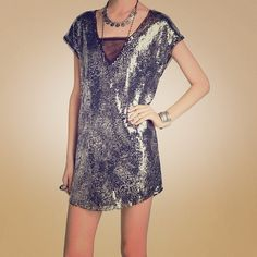 ❤️ NWT Free People Silver Sequence Dress❤️  Midnight Dream Dress Silver, and Black Sequence, Perfect Dress For Holiday CelebrationsNew With TagsTODAY ONLY SALE Free People Dresses Mini