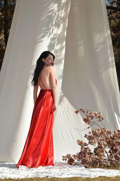 Red silk dress,Open back slip dress, Maxi dress, Elegant dress Date dress Prom dresses Sexy dress