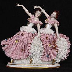 VTG Volkstedt Germany Porcelain Dresden Lace Figurine TWO Ballerinas Dancers in Antiques, Decorative Arts, Ceramics & Porcelain Porcelain Jewelry, Porcelain Ceramics, China Porcelain, Painted Porcelain, Porcelain Tiles, Ceramic Pottery, Hand Painted, Dresden Dolls, Dresden China