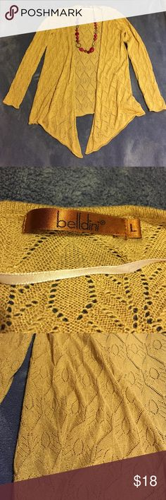 EUC Gold Sparkle Drape Cardigan Size L Excellent used condition. Belldini brand. Size large. Loose waterfall/ drape fit. Pretty woven pattern with little gold threads throughout. Not quite as dark and yellow as the pictures show. Almost more of a warm taupe or bronze type gold than a sunshine yellow type. Comes from a pet and smoke free home. Belldini Sweaters Cardigans