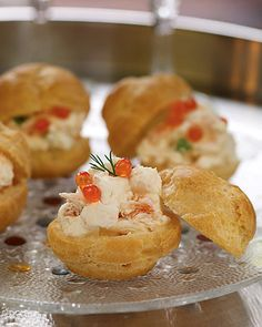 Puffs in Sauce magazine, filled with smoked trout mousse and topped with salmon roe.