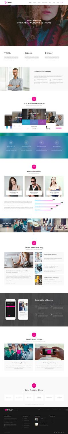 Deliver is ultimate, super flexible and fully responsive WordPress theme, suited for business websites, entertainment websites, shop websites, and users who want to showcase their work on a neat portfolio site.