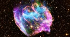 (NASA - Supernova Remnant W49B:    The highly distorted supernova remnant shown in this image may contain the most recent black hole formed in the Milky Way galaxy. The image combines X-rays from NASA's Chandra X-ray Observatory in blue and green, radio data from the NSF's Very Large Array in pink, and infrared data from Caltech's Palomar Observatory in yellow.     The remnant is about a thousand years old, as seen from Earth, and is at a distance about 26,000 light years away.
