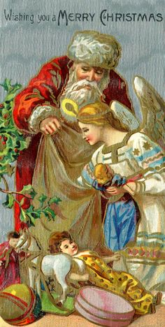 Santa and angel picking special gift for the baby Jesus Merry Christmas, Father Christmas, Christmas Love, Christmas Pictures, Christmas Angels, Christmas Greetings, Christmas Postcards, Christmas Things, Christmas Stockings