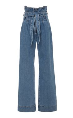 Nobody Denim Galileo Tie-Front High-Rise Wide-Leg Jeans Ripped Jeggings, Ripped Skinny Jeans, Wide Leg Jeans, Skinny Ties, High Rise Jeans, Mode Outfits, Jean Outfits, Fashion Outfits, Fashion Trends