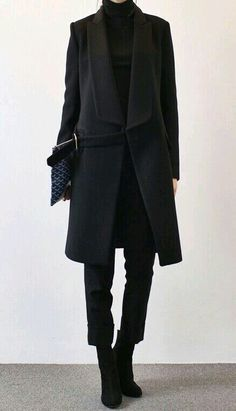 Cropped, slim pants with ankle boots, long coat. Great proportions.