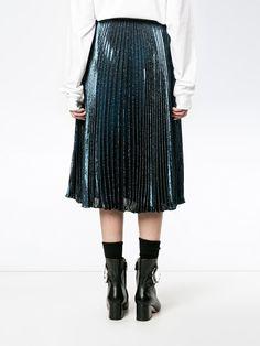 Christopher Kane Blue Pleated Lamé Midi Skirt