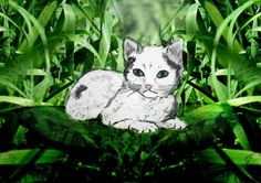 Kitty in Green - Decorative Colorful Cat Art Print