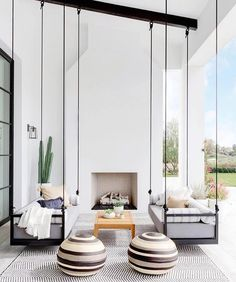 Here is some of my favorite inspiration for outdoor spaces with a modern farmhouse flair. Modern Farmhouse Back Porch - Black Hanging Swings - Modern Outdoor Fireplace - Black and White Back Porch - Home Decor - Home Design - DESIGN: Studio Life/Style Patio Interior, Interior Design For Home, Best Home Design, White House Interior, California Homes, California Room, California Style, Style At Home, Home Fashion