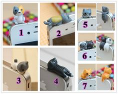 7 Styles Cat Dust Plug Miniature 3D Kitten Cat by JanesGiftStore, $4.12