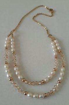 Perlas de río y cristales Swarovski. Creaciones Little Flower. Bisutería fina 100% artesanal.
